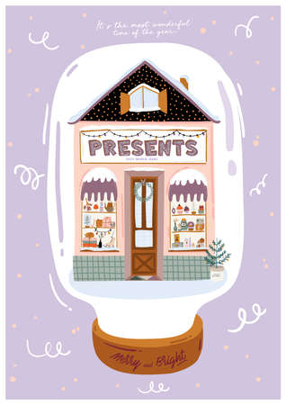 Cute winter house poster. Christmas holiday season.