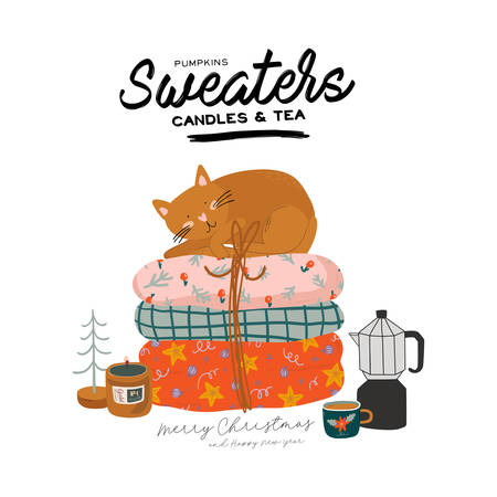 Scandinavian interior with home decorations and cat. Cozy Winter holiday season. Cute illustration and Christmas typography in Hygge style. Vector. Isolated.