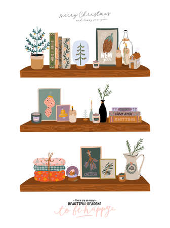 Scandinavian interior - bookshalf with home winter decorations. Cozy holiday season. Cute illustration and Christmas typography in Hygge style. Vector. Isolated.