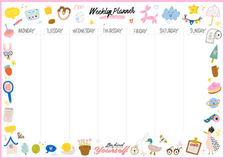Collection of weekly or daily planner, note paper, to do list, stickers templates decorated by cute kids illustrations and inspirational quote. School scheduler and organizer. Flat vector Vetores