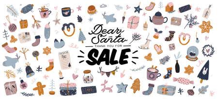 Sale print met mooie winterse achtergrond, kerstelementen en trendy belettering. Goede sjabloon voor web, kaart, poster, sticker, banner, uitnodiging, flyers. vector illustratie