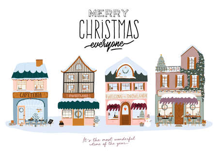Collection of cute winter house, shop, store, cafe and restaurant isolated on white background. Christmas holiday season. Flat vector illustration in trendy scandinavian style. European city