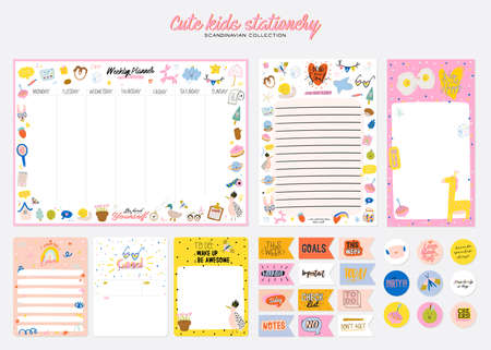 Collection of weekly or daily planner, note paper, to do list, stickers templates decorated by cute kids illustrations and inspirational quote. School scheduler and organizer. Flat vector Vector Illustratie