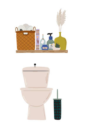 Stylish Scandinavian bathroom interior - bidet,tap, bath,toilet, sink, home decorations. Cozy modern comfy apartment furnished in Hygge style. Vector illustration Ilustrace