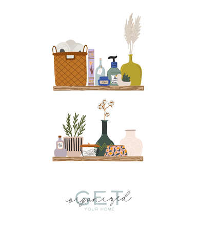 Stylish Scandinavian bathroom interior - bidet,tap, bath,toilet, sink, home decorations. Cozy modern comfy apartment furnished in Hygge style. Vector illustration