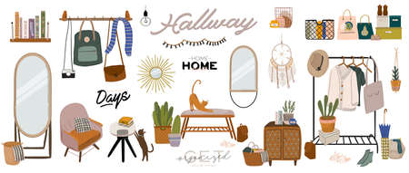 Stylish Scandinavian entrance hall interior and home decorations. Female clothes in wardrobe. Clothing organization and storage. Vector illustration for women shop, boutique, store.