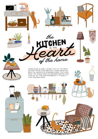 Stylish Scandinavian kitchen interior - stove, table, kitchen utensils, fridge, home decorations. Cozy modern comfy apartment furnished in Hygge style. Vector illustration Vektorové ilustrace