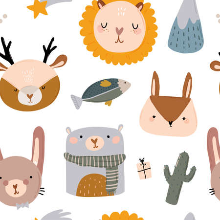 Cute kids scandinavian characters seamless pattern with trendy quotes and cool animal hand drawn elements. Cartoon doodle illustration for baby shower, nursery room decor, children design. Vector.