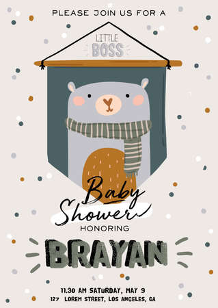 Cute baby shower in scandinavian style including trendy quotes and cool animal decorative hand drawn elements. Cartoon doodle kids  illustration for nursery room decor, children design. Vector.