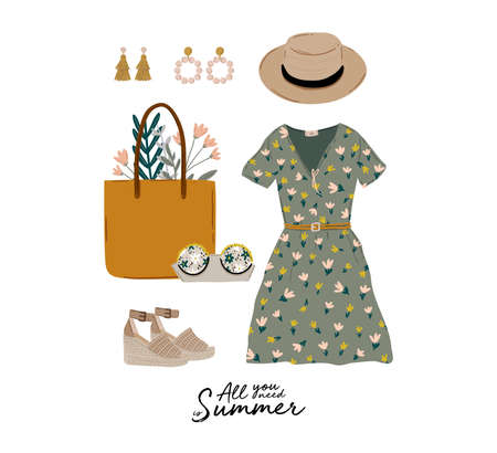 Summer fashion outfit set. Trendy woman clothes, underwaer, swimsuit, hat, bag, shoes, accessories. Beauty quotes. Vector illustration.