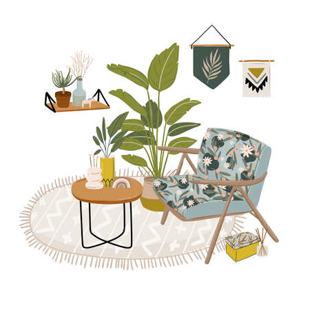 Trendy Scandinavian Urban Greenery at Home Jungle Interior with home decorations. Cozy Home Garden furnished in Hygge style. Crazy Plant Lady illustration. Isolated Vector