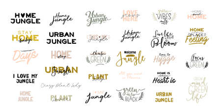 Trendy Scandinavian Urban Greenery quotes. Home Jungle lettering for home decorations. Cozy Home Garden. Crazy Plant Lady typography. Isolated Vector