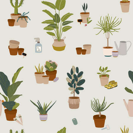 Trendy Scandinavian Urban Home Jungle Interior seamless pattern with home decorations. Cozy Home Garden furnished in Hygge style. Crazy Plant Lady illustration. Isolated Vector