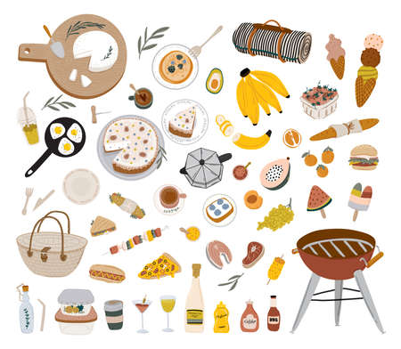 Summer picnic: fruits, berries, cake, hotdog, sandwich, bbq grill, coffee, ice cream, pie. Top view. Icon set flat design of picnic items. For banners, posters, promotion, presentation templates