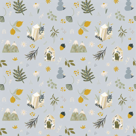 Abstract contemporary seamless pattern with floral, fauna, moon, girls power elements. Trendy minimalist illustration in scandinavian style, bohemian witch, magic mystery concept. Иллюстрация