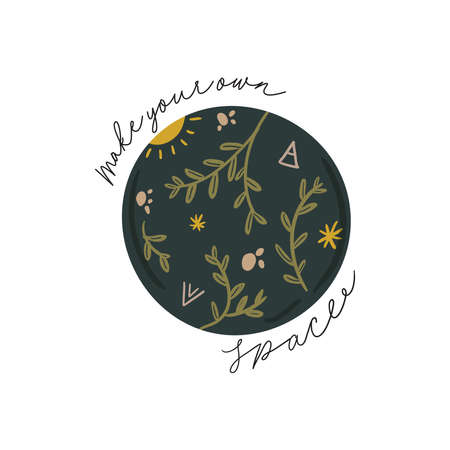 Abstract contemporary illustration with floral, fauna, moon, girls power elements. Trendy minimalist clip art with inspirational quote in scandinavian style, bohemian witch, magic mystery concept.