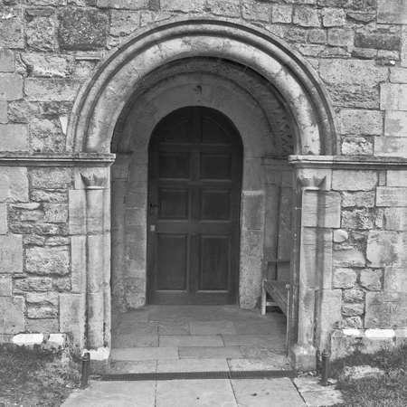 entranceway: The entranceway to an old Norman church.