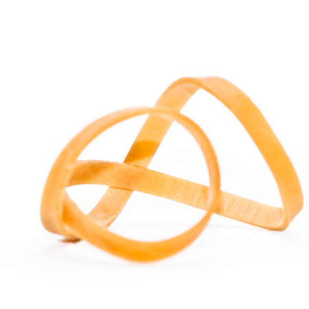 An elastic band shot against a white background. Stock Photo