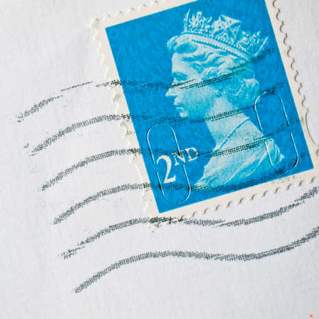 royal mail: A second class stamp from the royal mail. Editorial