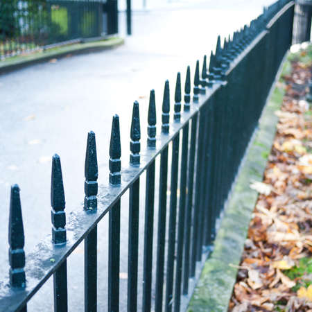 ironwork: An ironwork fence runs off into the distance.
