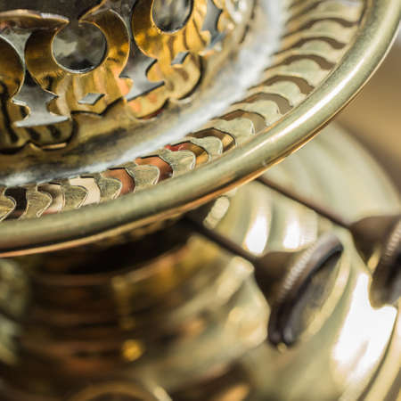 oil  lamp: Looking at an old antique oil lamp  Stock Photo