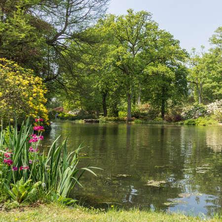 exbury: Looking across the pond at Exbury Gardens  Stock Photo