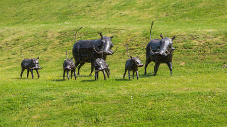 exbury: Metallic wild boar like creatures roaming about Exbury gardens! Stock Photo