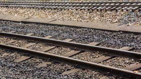 exbury: An abstract shot of the narrow gauge railway lines that run around Exbury Gardens  Stock Photo