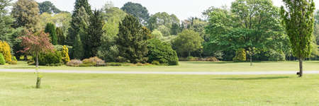 exbury: A panoramic shot of some of the grounds at Exbury Gardens  Stock Photo