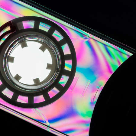 polarised: A colourful macro shot of a plastic cassette tape shot through linear polarising film