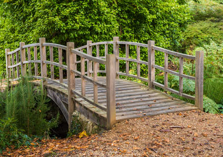 exbury: A shot of a small Japanese style bridge.