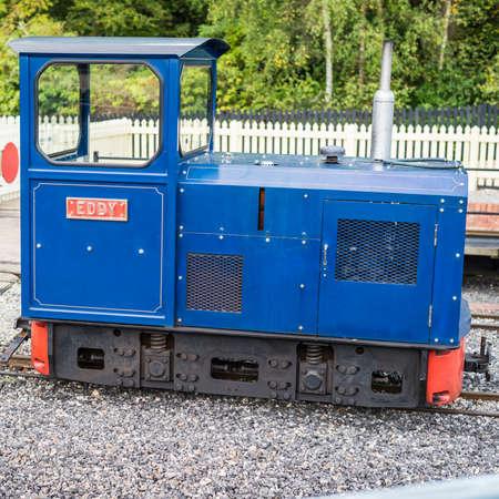 eddy: A shot of a small blue diesel locomotive called Eddy