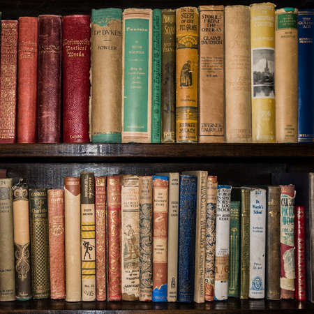 A shot of some old literature on a bookshelf.