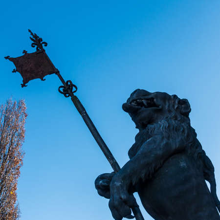 A view of one of the lions that guard the entrance to Southampton Bargate. Stock Photo