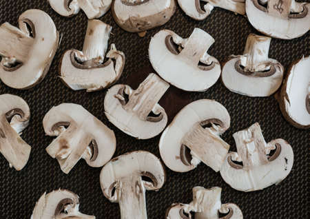 button mushrooms: An abstract macro shot of some sliced button mushrooms.