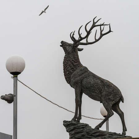 A shot of a stag statue at Hartlepool marina, UK.