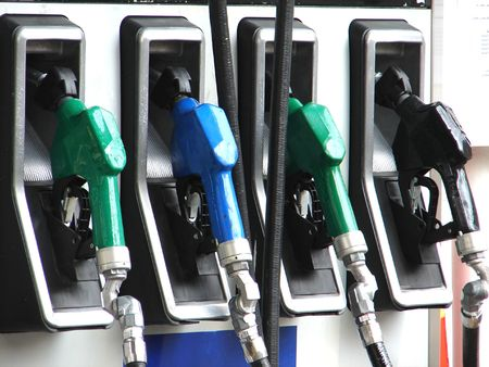 Serious of petrol pump in a gas station photo