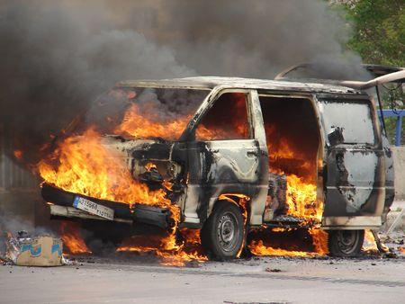 peace risk: burning van