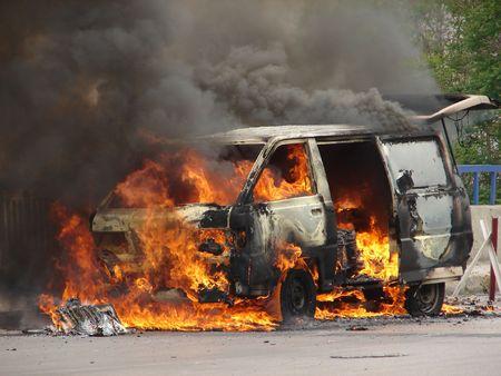 burning van  photo