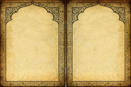 islamic ornaments and decorations frame against grunge background photo