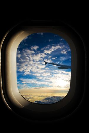aeronautical: View from the aeroplanes window Stock Photo