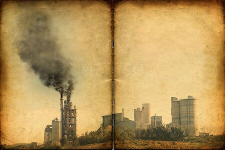 Global Warming  industrial pollution against a grungy distorted grain texture photo