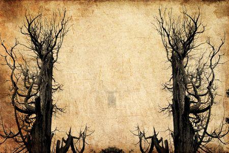 horror castle: una escena grunge de un viejo �rbol muerto  una escena similar a haloween