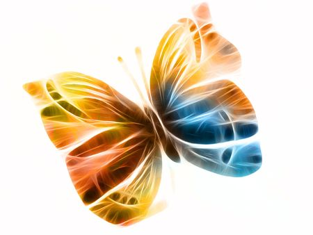 butterfly rendered with colorful light rays or streaks photo