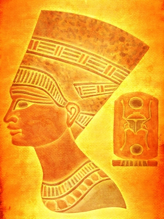 scribes: portrait of Nefertiti with an ancient egyption symbol