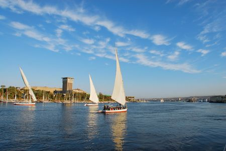 Faluka on the Nile river in Egypt  Imagens