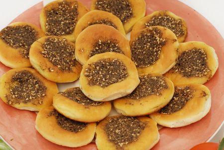 lebanese food: manakish arabian pastry with zaatar