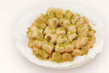 baklava: Golden Baklava with pistachios , arabic sweets  Stock Photo