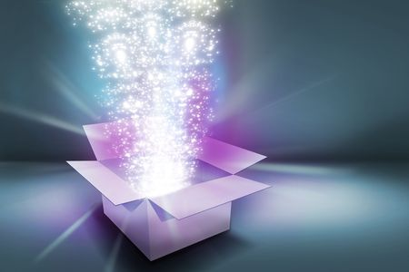 efectos especiales: elementos de luz & resplandor que sale cuando se abre el cuadro de regalo.