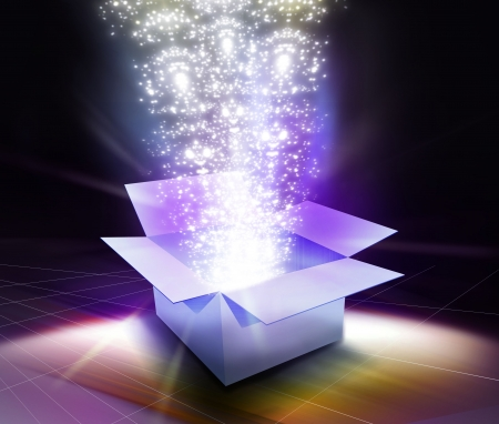 out of the box: light & glow elements coming out when the gift box is open.